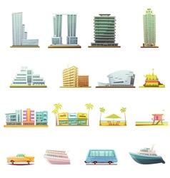 Miami Transportation Landscape Elements Icons Set vector image