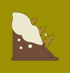 Flat icon stylish background snow avalanche spruce vector
