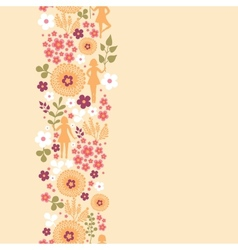 Girls among flowers vertical seamless pattern vector image vector image
