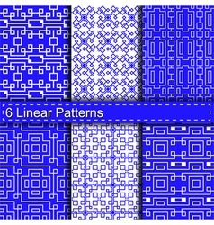 Set of six linear patterns vector image vector image