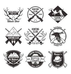 Vintage hunting labels set vector image