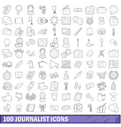 100 journalist icons set outline style vector