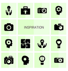 14 inspiration icons vector image