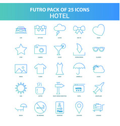 25 green and blue futuro hotel icon pack vector