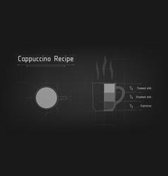 a cup cappuccino tech design recipe for vector image