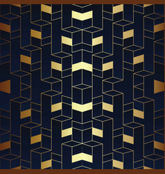 abstract art seamless blue and golden pattern vector image
