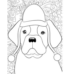 adult coloring bookpage a cute dog wearing a vector image