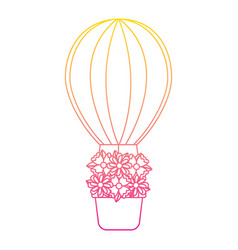 Air ballon basket flowers romance vector