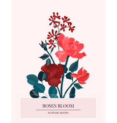 amore red roses romantic flower card nature vector image
