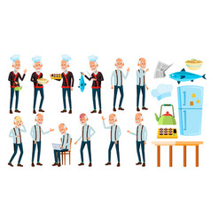 Asian old man poses set elderly people vector