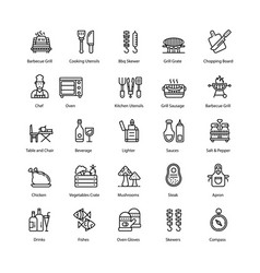Barbecue and grill line icons pack vector