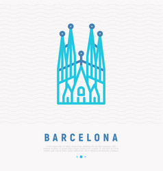 Barcelona landmark thin line icon vector