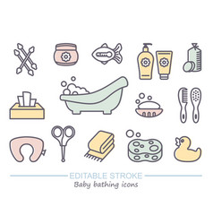 Bathing and baby care line icons with editable vector