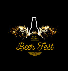Beer fest splash beer with bubbles on a black vector