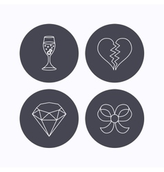 Broken heart brilliant and engagement ring icons vector image