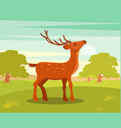 Brown graceful spotted deer with branched horns vector