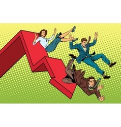 Business men and woman financial collapse vector image