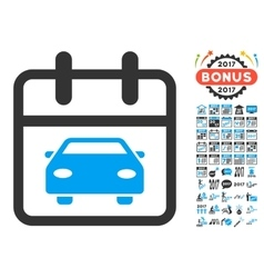 Car Day Flat Icon with 2017 Year Bonus vector