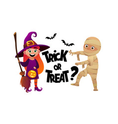 cartoon children witch and mummy costume trick or vector image