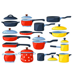 Cartoon frying pan cooking pots metal saucepan vector