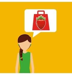 cartoon girl shopping strawberry fruit icon vector image