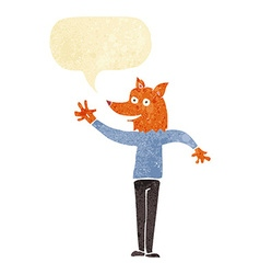 Cartoon waving fox man with speech bubble vector