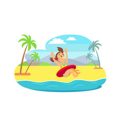 Child in inflatable circle jumping in sea vector