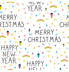 christmas and new year seamless pattern winter vector image