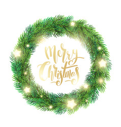 christmas wreath of fir branches glowing stars vector image