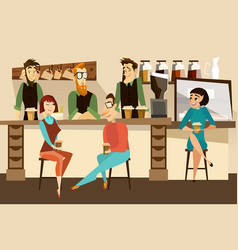 coffee bar concept in flat vector image