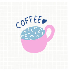 coffee cup cartoon cute logo vector image