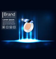 Cosmetic ad powder puff concept vector