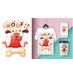 Crazy dog - mockup for your idea vector