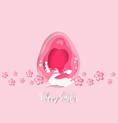 creative paper cut happy easter background with vector image