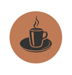 Cup of coffee icon placed in brown circle vector