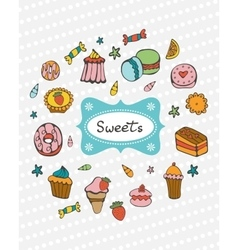 Cute collection of hand drawn sweets and desserts vector