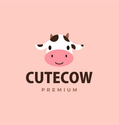 cute cow flat logo icon vector image
