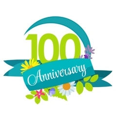 Cute nature flower template 100 years anniversary vector