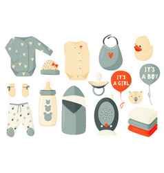 Cute set clothes for newborns children decor vector