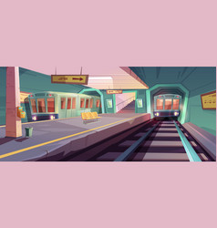 empty subway platform with arriving trains vector image