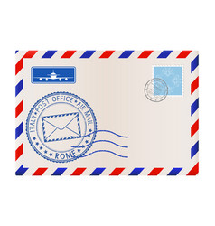 Envelope with rome stamp international mail vector