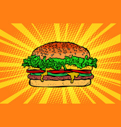 fast food burger hamburger vector image