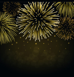 firework gold sparkle background card beautiful vector image