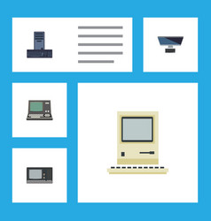 flat icon laptop set of technology pc vintage vector image