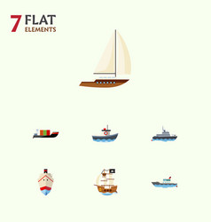 flat icon ship set of tanker delivery vessel and vector image