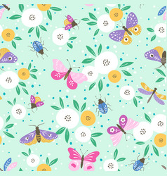 flower pattern with colorful butterflies vector image