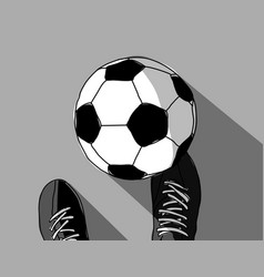 football player and soccer ball top view grayscale vector image