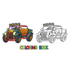 Funny buggy car or outroader coloring book vector