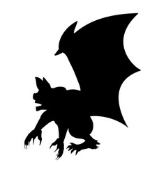Gargoyle chimera silhouette ancient mythology vector