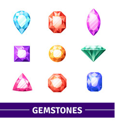 gemstones icons set vector image
